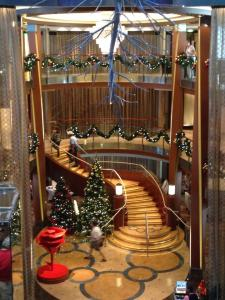 The Grand Foyer, the center of the ship, decorated for Christmas
